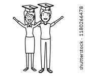couple of students celebrating... | Shutterstock .eps vector #1180266478
