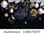 glam christmas cadr with white... | Shutterstock .eps vector #1180273375