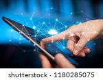 female hands touching tablet... | Shutterstock . vector #1180285075