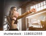 fit beautiful woman boxer...   Shutterstock . vector #1180312555