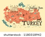 interesting map of turkey.... | Shutterstock . vector #1180318942