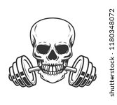skull with barbell in teeth.... | Shutterstock .eps vector #1180348072