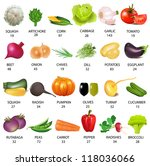 illustration set vegetable with ... | Shutterstock . vector #118036066