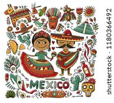 travel to mexico. sketch for... | Shutterstock .eps vector #1180366492