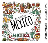 travel to mexico. sketch for... | Shutterstock .eps vector #1180366498