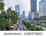 vehicle traffic jam  in jakarta ... | Shutterstock . vector #1180375822