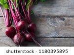 beet  beetroot bunch on grey... | Shutterstock . vector #1180395895
