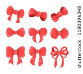 collection of shiny ribbon bow... | Shutterstock .eps vector #1180396348