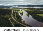At Aavasaksa, river that separates Finland and Sweden from each other, seen from the sky