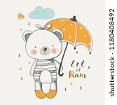 cute baby bear with umbrella... | Shutterstock .eps vector #1180408492