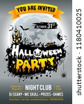 happy halloween party poster... | Shutterstock .eps vector #1180410025