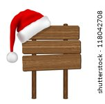 wood sign with santa hat... | Shutterstock .eps vector #118042708