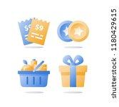 till slip and full grocery... | Shutterstock .eps vector #1180429615