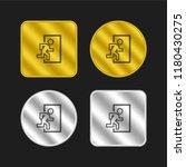 exit door symbol gold and...