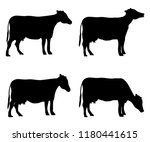 cow set of silhouettes | Shutterstock .eps vector #1180441615
