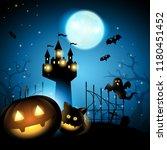 halloween pumpkin with cat... | Shutterstock .eps vector #1180451452