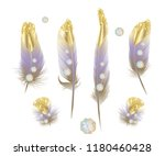 set of gold  featherwith... | Shutterstock .eps vector #1180460428