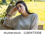 portrait of beautiful young sad ... | Shutterstock . vector #1180475308