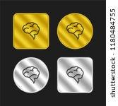 brain speech bubble gold and...