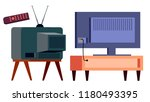 retro tv vs modern hd plasma... | Shutterstock .eps vector #1180493395