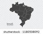 brazil map vector  isolated on... | Shutterstock .eps vector #1180508092