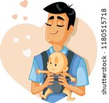loving father holding baby... | Shutterstock .eps vector #1180515718