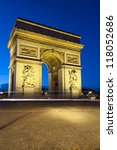 paris  arc de triomphe by night ... | Shutterstock . vector #118052686