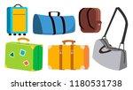 travel bag set vector. classic  ... | Shutterstock .eps vector #1180531738