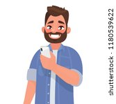 happy man is holding a... | Shutterstock .eps vector #1180539622