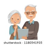 elderly couple reading. senior... | Shutterstock .eps vector #1180541935