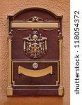 postal mail box old style in Monaco, Monte Carlo. - stock photo