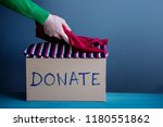 donation concept. woman... | Shutterstock . vector #1180551862