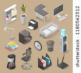 office room furniture icon set  ... | Shutterstock .eps vector #1180562512