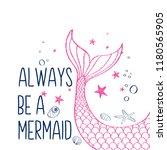 hand drawing mermaid...   Shutterstock .eps vector #1180565905
