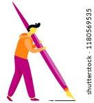 man hold big purple fountain...   Shutterstock .eps vector #1180569535