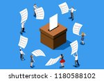 hand putting label. election... | Shutterstock .eps vector #1180588102