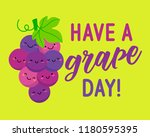 cute grapes cartoon... | Shutterstock .eps vector #1180595395
