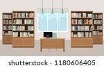 Modern Library Empty Interior...