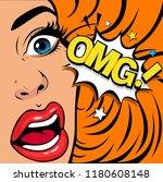 omg the woman in shock.... | Shutterstock .eps vector #1180608148