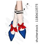 female legs in stylish shoes...   Shutterstock .eps vector #1180613575