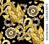 golden pattern on black  yellow ... | Shutterstock .eps vector #1180615075
