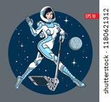 young attractive astronaut... | Shutterstock .eps vector #1180621312