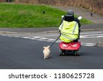 Stock photo person driving a mobility scooter whilst walking their dog 1180625728