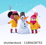 happy kids playing with snowman.... | Shutterstock .eps vector #1180628752