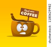 cartoon character cup of coffee ... | Shutterstock .eps vector #1180629982