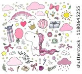 set of hand drawn unicorn and a ... | Shutterstock .eps vector #1180645255