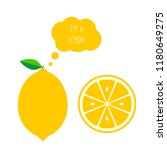 vector lemon whole and half cut.... | Shutterstock .eps vector #1180649275