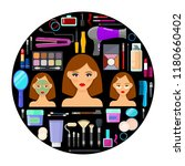 colorful tools for makeup and...   Shutterstock .eps vector #1180660402
