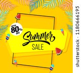 summer sale banner yellow... | Shutterstock .eps vector #1180666195