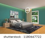 bedroom interior. 3d... | Shutterstock . vector #1180667722